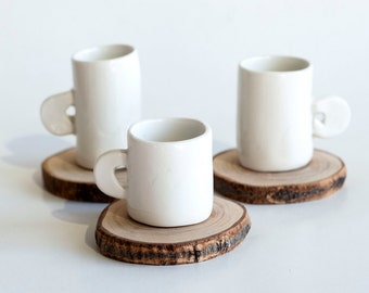 Set of 3 Handmade Coffee Cups for Espresso or Turkish Coffee with Olive Wood Saucer