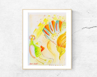Queen of birds,Watercolour, home decoration, storytelling, original watercolour art, kids room, print, watercolor.