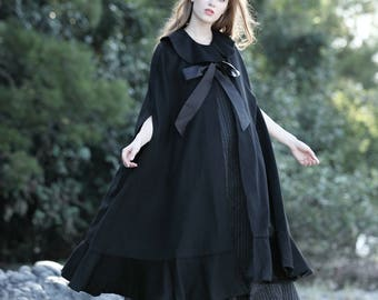 black wool cloak cape, princess coat, wool coat, winter coat, wool cloak, wool cape, wool poncho, halloween custome, ruffle coat