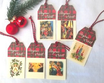 6 Christmas tags vintage image Scottish