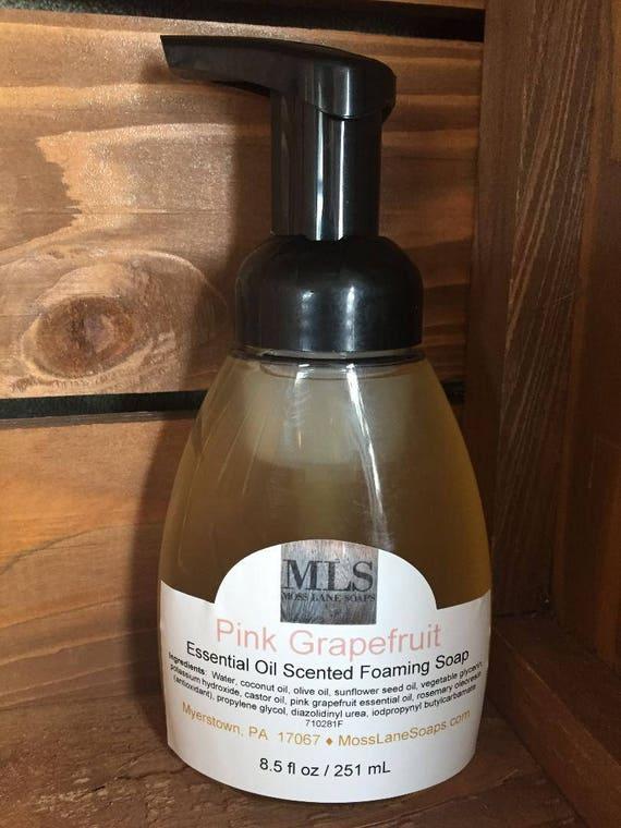 Pink Grapefruit Essential Oil Scented Natural Liquid Foaming Soap, 8.5 fl oz Bottle with Foamer Top