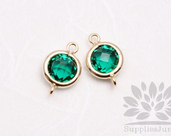 F124-G-EM// Gold Plated Emerald Rounded Glass Pendant Connector, 2 pcs