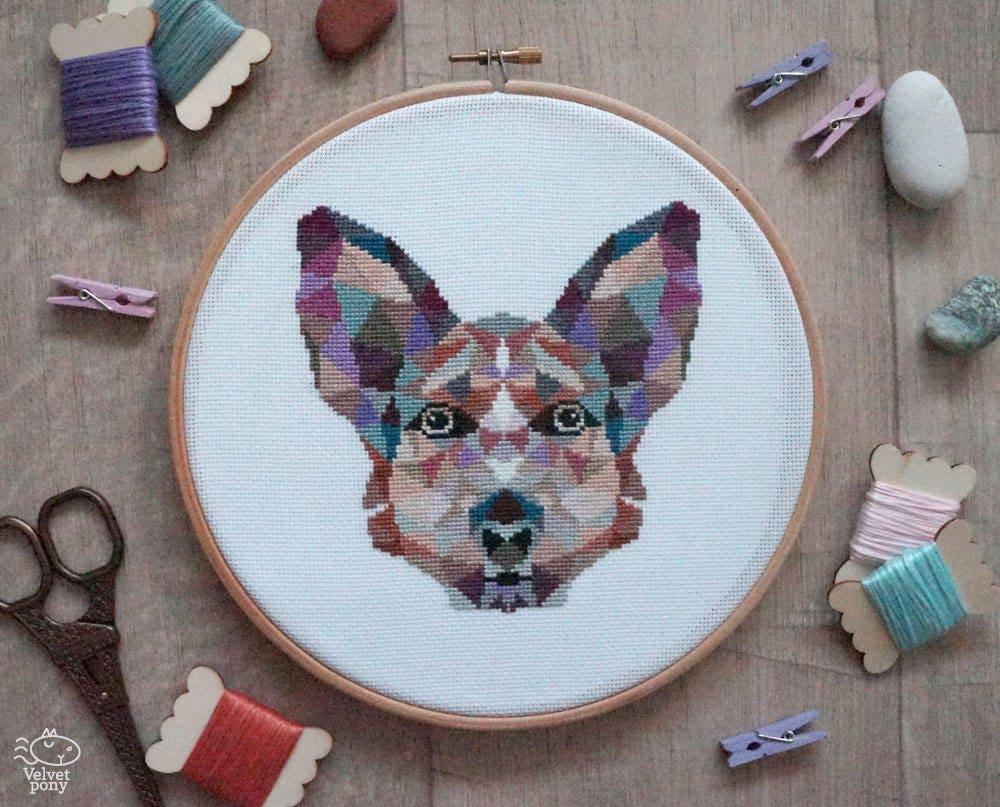 Dog cross stitch pattern geometric animals animal