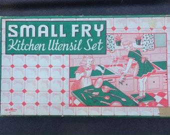 Small Fry Kitchen Utensil Set by New Met Product, Newburgh Metal Mfg Corp, Newburg NY, Circa 1940's