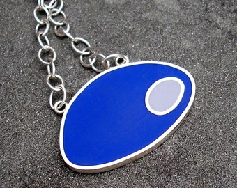 Resin Necklace - Resin Silver Necklace - Blue Resin Sterling Silver Necklace - Cobalt Blue and Grey Mod Resin Pendant - Resin Silver Jewelry