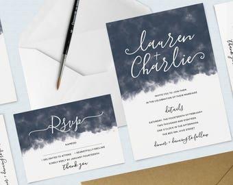 Navy Watercolour Wedding Bundle, Invitation and RSVP Pack, Blue, Wreath, Minimal, Calligraphy Invitation