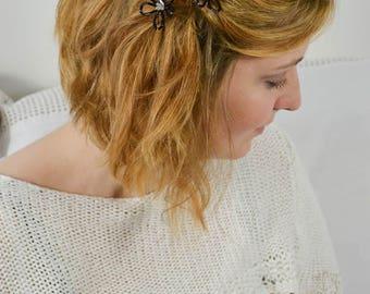 Bridal Hairpin Set Black Flower