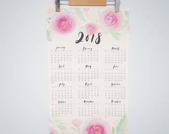Tea Towel, 2018 Wall Calendar, Tea Towel Calendar, Wall Hanging, Watercolor Florals, Brush Lettering, Calligraphy, Cotton Linen