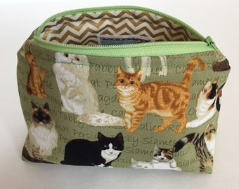 Cat makeup bag, cat zipper pouch, Cat lover gift, makeup bag, toiletry bag, green makeup bag