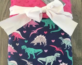 Dinosaur Blanket~ Girl's Blanket~ Minky Blanket~ Toddler Blanket~ Child's Blanket