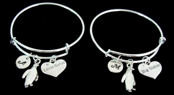 Penguin Bracelet, Little Sister, Big Sister Bracelet, Penguin Lovers Personalized Bangle ,Monogram Initial Charm Bracelet, Free Shipping USA