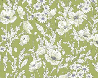 Fat Quarter Watercolor Garden - Floral Breeze in Willow - Cotton Quilt Fabric from Benartex (W643)