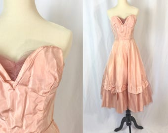 Xxs ** 1950s BLUSH PINK strapless tulle acetate cupcake dress ** vintage fifties pink prom dress