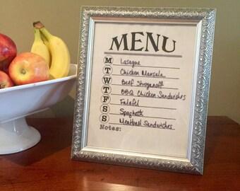 Dry erase menu board - menu planner - framed weekly menu - wet dry erase menu planner - menu planning decor - gift hostess housewarming