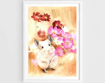 "Original watercolor,white chinchilla,chinchilla holds a cosmos flower,original painting,8""3x11""7,,home decor"