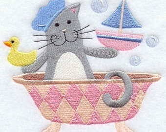 Kitty in Bubble Bath Embroidered Hand Towel | Bath Hand Towel | Cat Embroidered Towel | Embroidered Bath Towel