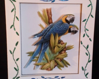 Card 3D pattern couple of parrots