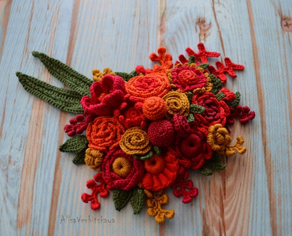 Rote Rose Brosche Pin Blumen Brautstrauß Irish crochet Strauß