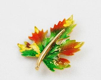 Vintage Signed Hedy Leaf Brooch