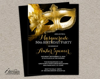 Masquerade 50th Birthday Party Invitation | DIY Printable Gold Mask Mardi Gras Invitations | Venetian Mask Golden Anniversary Invitess