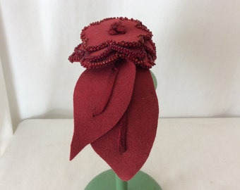 vintage felt headband beaded flower satin band