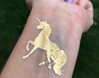 Unicorn Tattoo, Gold Unicorn Tattoo, Foil, Gold, Metallic Tattoos, Unicorn Party, Party Favor, Girl's Birthday Favor, Favor Bag, Flash Tat