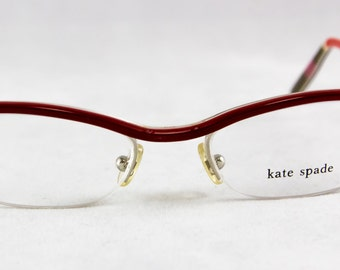 New old stock KATE SPADE eyeglass frame Red Retro SemiRimless Plastic Layered color