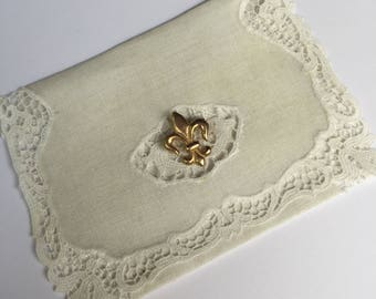 Handmade Little Bag for your Tissues Made from Vintage Linen with Fleur di Lis Pin