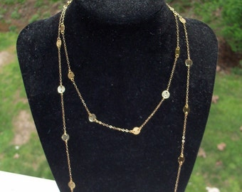 14K Gold Disc Necklace, 44 inch Larger 6mm Discs, Cougar Town Inspired Worn by Jules Cobb, Courtney Cox, Wrapped Doubled Over Jewelry Chain