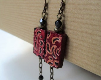 Red Animal Print Leather Niobium Earrings