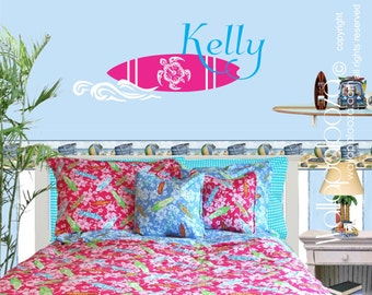 surfing wall decal - surf decal - girls name wall decal - girls surfing decal - custom name decal