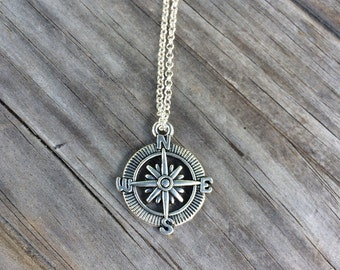 Compass Necklace, Adventure Necklace, Travel Necklace, Gift for her, Gift for mom, Gift for wife, Christmas gift, Stocking Stuffer