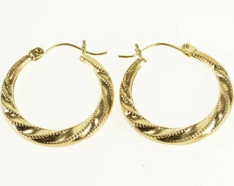 14k Dot Trimmed Twist Spiral Corkscrew Hoop Earrings Gold