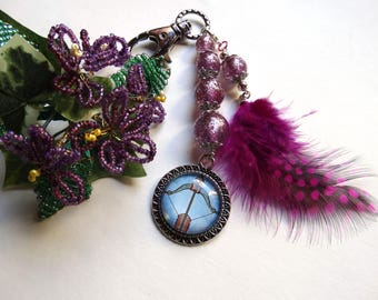 Bag holder/key Zodiac Sagittarius tribal ethnic style beads and feather / gift idea for woman