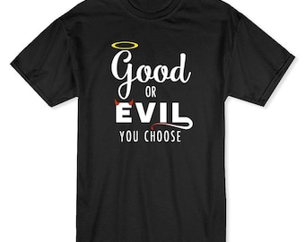 Good Or Evil You Choose My Church My Faith Men's Black T-shirt