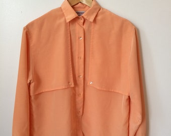 Coral Long Sleeve Button Up Blouse Size M