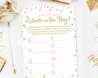 Whatu0027s In The Bag Baby Shower Game, Baby Shower Game Printable, Pink And  Gold Baby Shower Games, Whatu0027s In The Bag Game Instant Download BB1