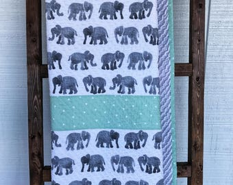 Mint Green and Grey Elephant Baby Quilt, Watercolor Elephant Baby Quilt, Modern Baby Quilt, Gender Neutral Baby Quilt, Elephant Nursery