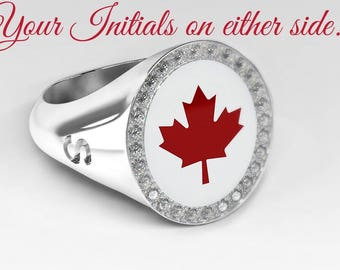 Canada-ring with diamonds and personal Monogram, red maple leaf, gold ring with diamonds, Meaple leaf, initials ring