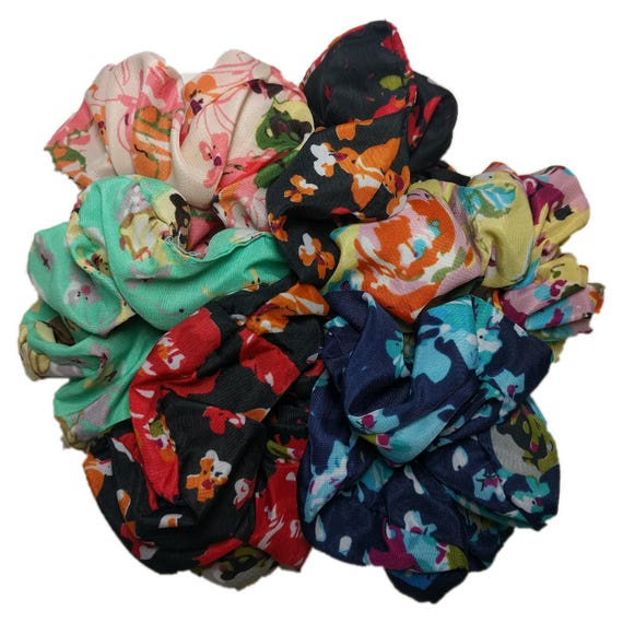 Floral Scrunchies Set Of 6 Scrunchies 90s Flower