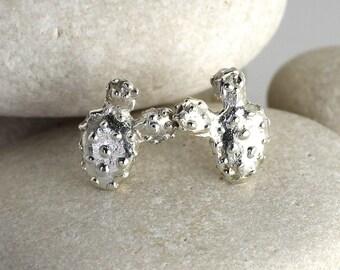 Silver Prickly Pear Earrings - Succulent Cactus Earrings in Sterling Silver