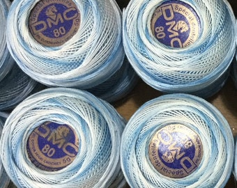 DMC Tatting Thread sz 80, Blue Variegated