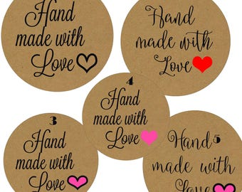 Hand made with love stickers, hand made with love labels, handmade stickers,  hand