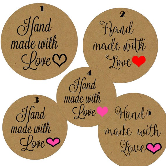 Hand made with love stickers hand made with love labels