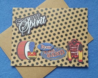 I'm With the Band Blank Greeting Card - recycled polka dot kraft paper with dimensional stickers