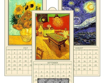 "HALF PRICE 2018 Digital Calendar Printable Downloads 4.8"" x 10""  Pages Van Gogh Paintings 12 Different Images 2018 CAL 3"