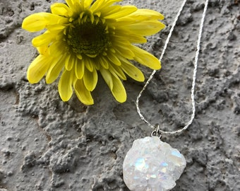 Angel Aura Quartz Necklace/Druzy/Quartz Necklace/Healing Crystals/Good Vibes/Good Energy/Hippie/Boho/Brides Maids Gift/Bridal Gift/Wedding