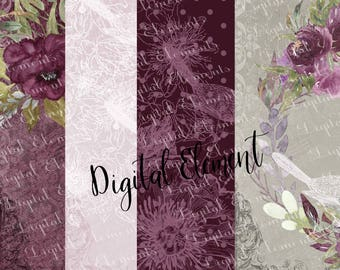 Digital Paper, Watercolor Peony Paper, Mini Paper Set, Purple and Lilac, Peony Wedding Design, Backdrop and Wallpaper. No. PM103