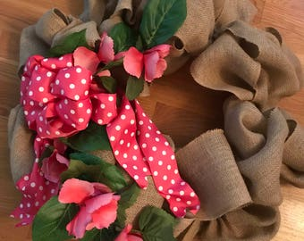 Spring is Popping out Everywhere Burlap Wreath