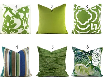 Outdoor Pillows Outdoor Pillow Covers Decorative Pillows ANY SIZE Pillow Cover Green Pillows You Choose